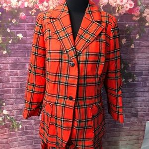 Vintage 1970's Pendleton Red Plaid Pants Suit